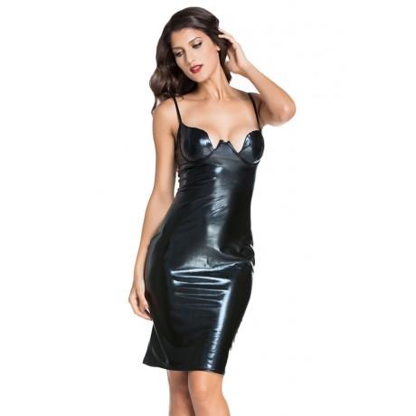 Black Faux Leather Padded Midi Dress