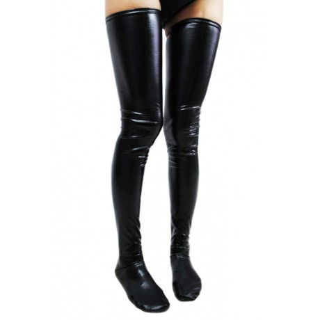Black Faux Leather Wet Look Vinyl Fetish Stockings