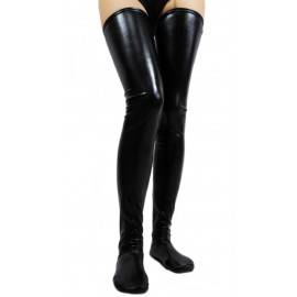 Black Faux Wet Look Vinyl Fetish Stockings