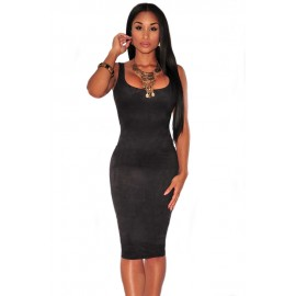 Solid Black Faux Suede Sleeveless Backless Midi Dress