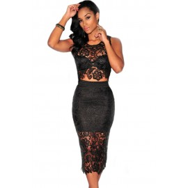 Floral Lace Skirt Set Black