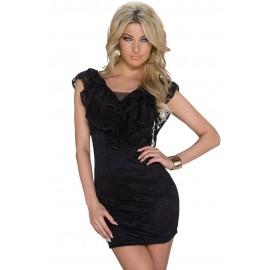Black Flounce V-neck Lace Sheath Mini Dress