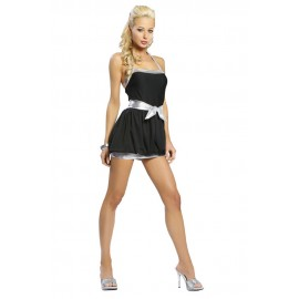 Fashion Strapless Solid Black Foil Clubwear Mini Dress