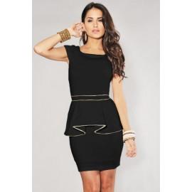 Black Gold Trim Back Zipper Party Peplum Dress