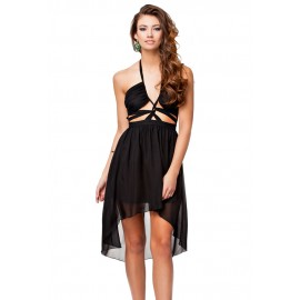 Black Halter Backless Prom Cocktail Party Evening Dress