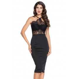 Black Halter Lace Sheer Fitted Midi Dress