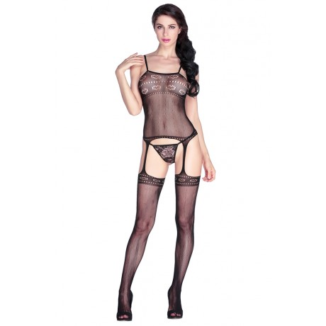 Exotic Black Heart Cutout Suspender Body stocking