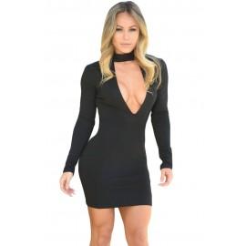 Black High Neck V Plunge Mini Dress