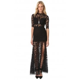 Black High Slit V Back Lace Over Maxi Party Dress