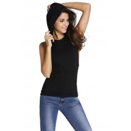 Black Hooded Cross Casual Top