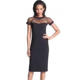 Black Illusion Yoke Crepe Sheath Midi Dress