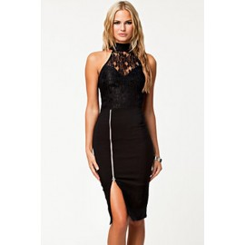 Lace Bodice Turtle Neck Vintage Night Club Dress