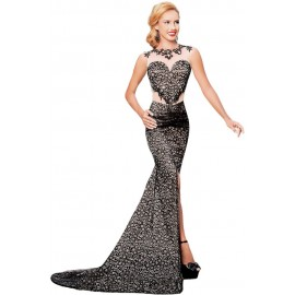 Black Lace Glamour Split Mermaid Maxi