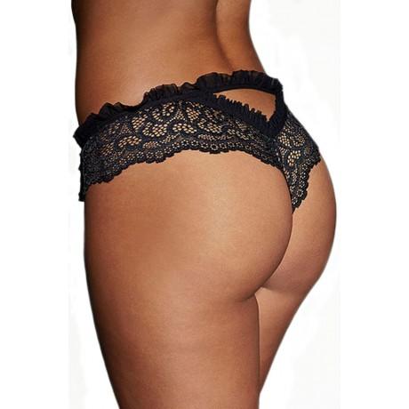 Erotic Black Lace Heart Thong