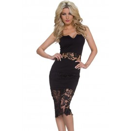 Black Lace Insert Notched Slip Midi Dress