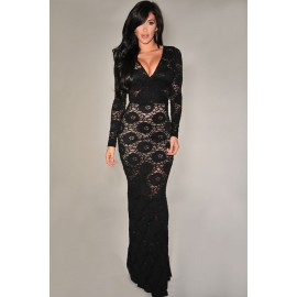 V-Neck Classy Lace Long Sleeve Evening Dress Black