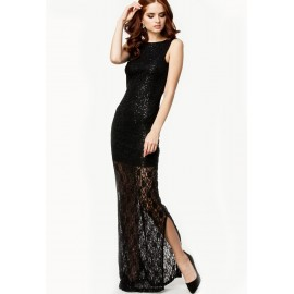 Sequins Hollow Out Lace Maxi Black