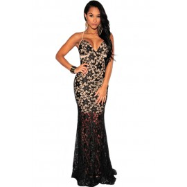 Black Lace Nude Illusion Crisscross Back Evening Dress