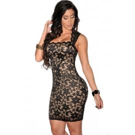 Black Lace Nude Illusion Midi Dress