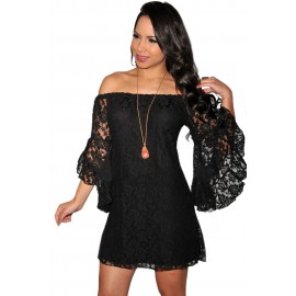 Black Lace Off The Shoulder Sexy Mini Dress
