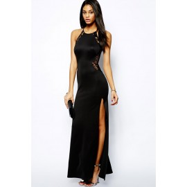 Lace Patchwork Splicing Evening Dress Black