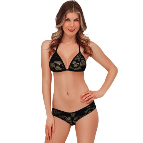 Exotic Lace Triangle Lingerie Black