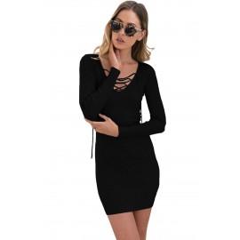 Black V Neck Long Sleeve Knit Dress