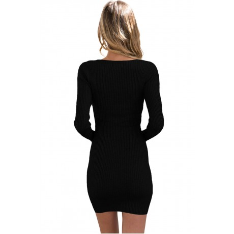 Black Lace Up V Neck Long Sleeve Rib Knit Dress