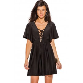 Black Lace up Deep V Neck Kimono Sleeve A Line Dress