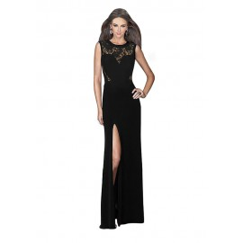 Black Long Split Prom Patchwork Party Maxi Evening Dress