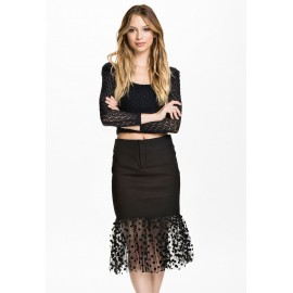Square Neckline Top and Dot Tulle Hemmed Skirt Black