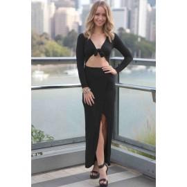 Draped Wrap Tie Dress Black