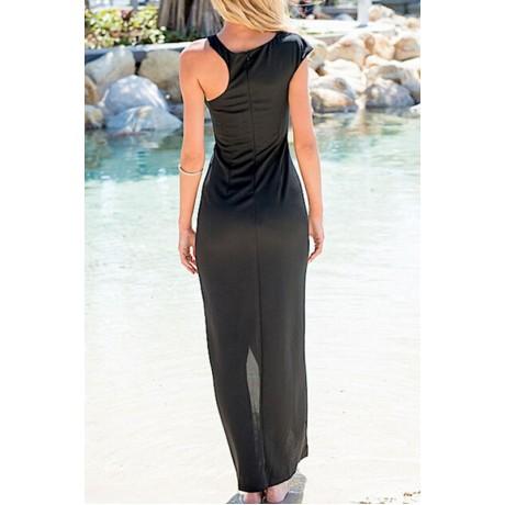 Solid O-Neck Evening Dress Black
