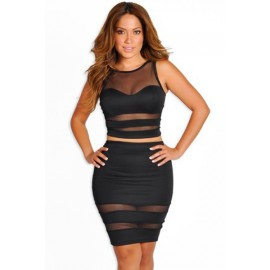 O-Neck Mesh Patchwork Cut Out Skirt and Top Skirt Sets Black