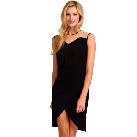 Black Mesh Wrap Midi Dress