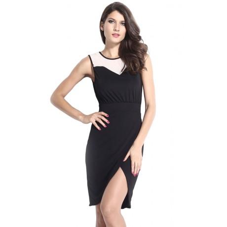Black Mesh Wrap Midi Dress