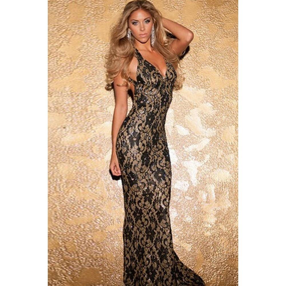 Black Metallic Look Lace Mermaid Long Evening Dress