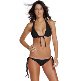 Black Multi-tie Design Strappy Beach Bikini Swimsuit