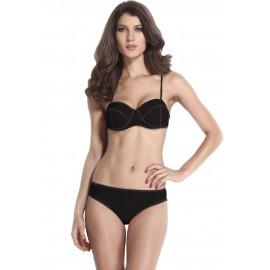 Ribbon Textured Swimwear Bikini set Black