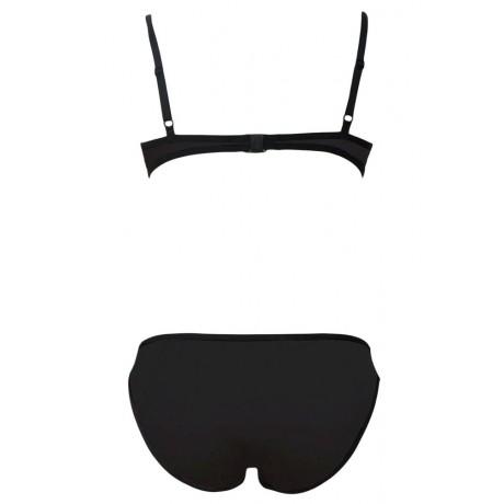 Ribbon Textured Swimwear Black