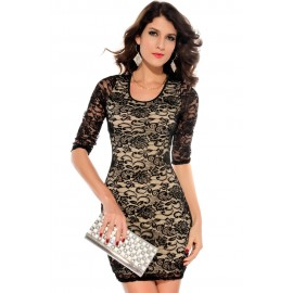 Nude Lace Keyhole Back Half Sleeves Bodycon Mini Dress Black