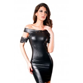 Open Shoulder Leather Slash Neck Tight Night Club Mini Dress