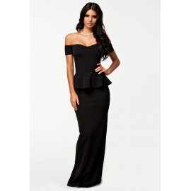 Drop Shoulder Maxi Dress Black