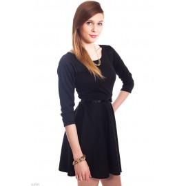 Black Plain Belted Skater Mini Dress
