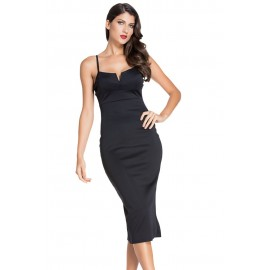 Black V Neck Backless Midi Dress