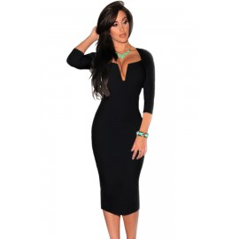 Plunging V Neck Party Midi Dress Black