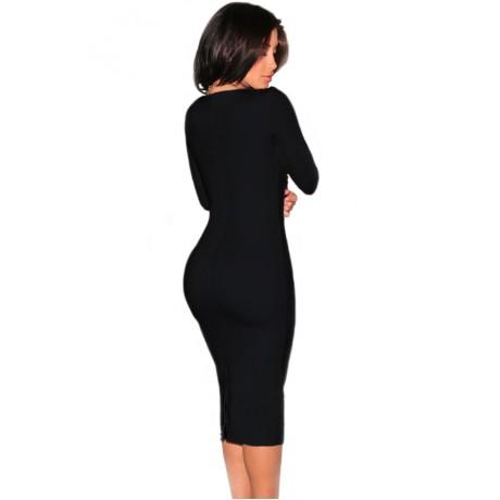 Plunging V Neck Party Midi Dress Black