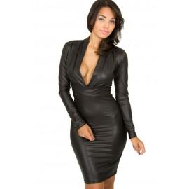 Plunging V Neck Long Sleeve Leather Style Dress Black