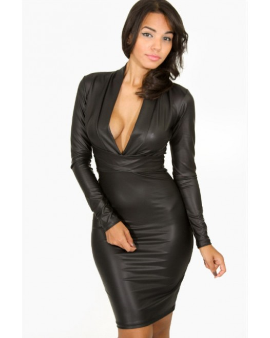 Plunging V Neck Long Sleeve Leather Style Dress Black
