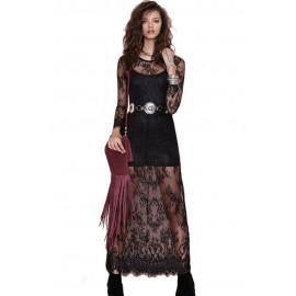 Black Reverse Lace Maxi Dress